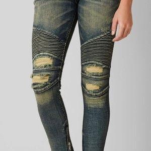 Rock revival moto skinny jeans